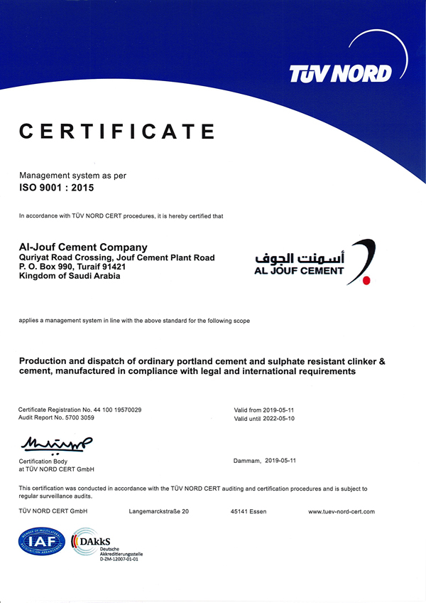 ISO 9001 2015 Certificate